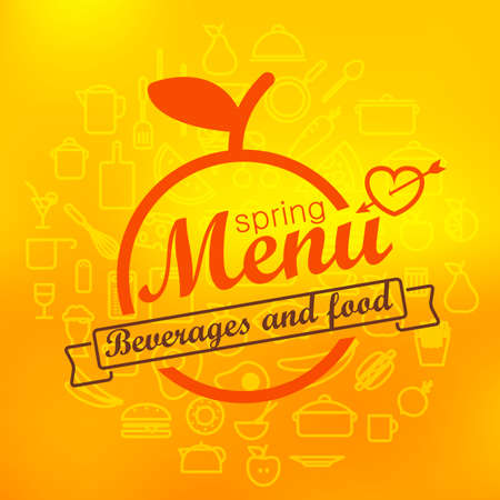 lineart: Spring menu label design. Vector lineart concept Illustration