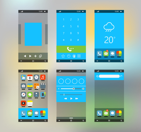 interface scheme: Modern smartphone interface with flat material design screens
