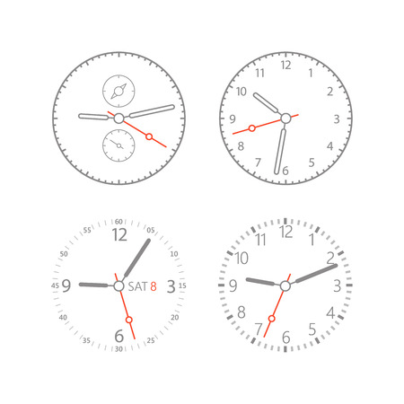 photoreal: Modern digital watch dials template. Isolated on white