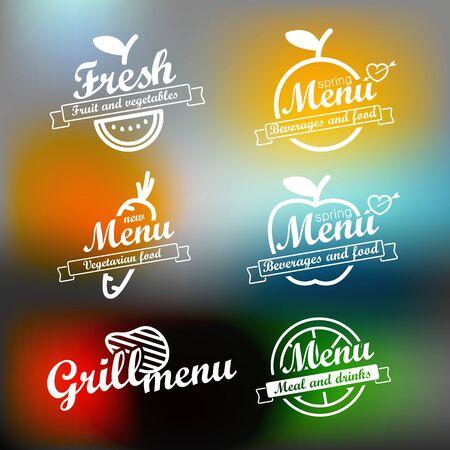 bar tool set: Different menu labels design set. Vector lineart concept Illustration