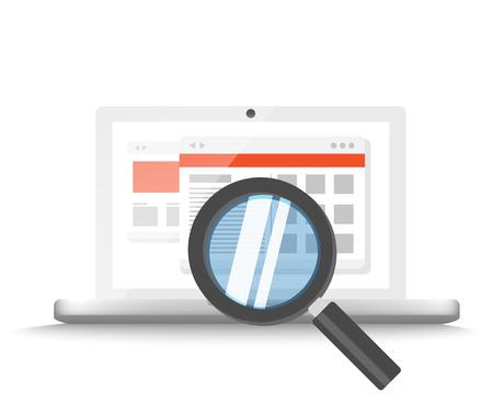 correo electronico: Computadora port�til moderna con lupa b�squeda de informaci�n en la p�gina web. Ilustraci�n vectorial