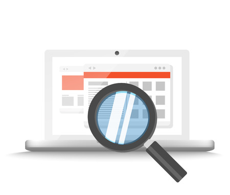 Modern laptop with magnifier searching information on website. Vector illustration