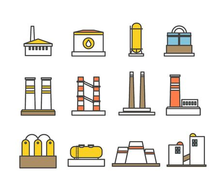Modern factory buildings collection. Minimalism illustration concept Vector