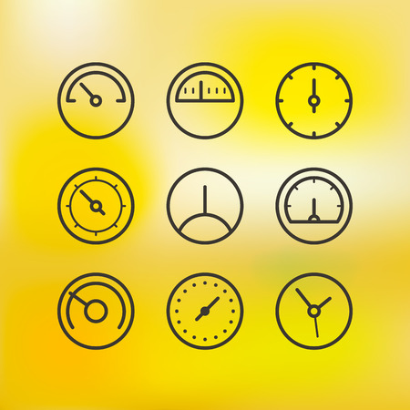 full time: Different slyles of speedometers vector collection on blured background