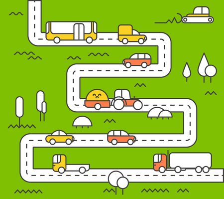 city life: Different vehicle on a road. City life minimalism illustration concept