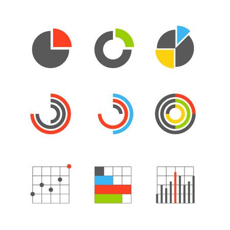 さまざまなグラフィック ビジネス評価とグラフ。インフォ グラフィックの要素
