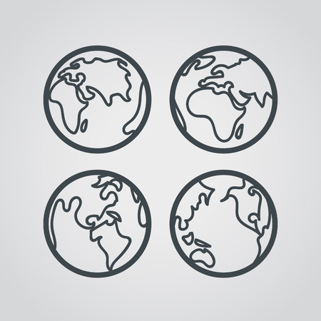 flat earth: Earth web icons collection. Round lineart design pictograms Illustration
