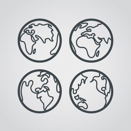 Terra di icone web di raccolta. Pittogrammi di progettazione lineart turno