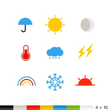 sun clipart: Different flat design web and application interface icons collection.  Set 4 of 10