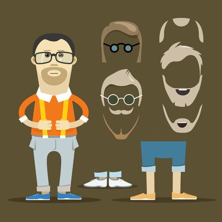 hesitations: Hipster accessories vector clip-art. Person design elements Illustration