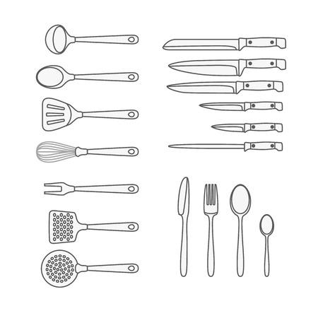 accessoire: Verschillende keuken accessoire geïsoleerd op wit. Design elementen