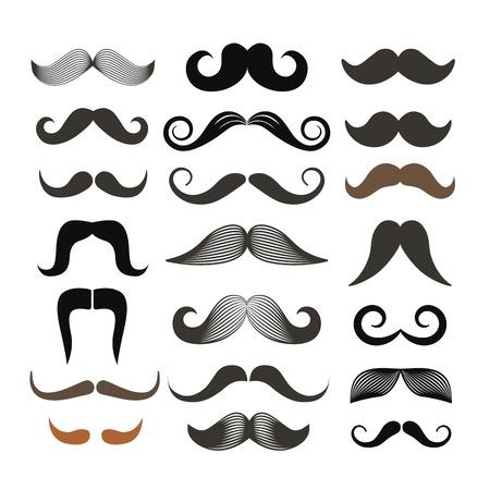 bigote: Bigote estilo retro clip-art diferente. Vector conjunto aislado en blanco Vectores