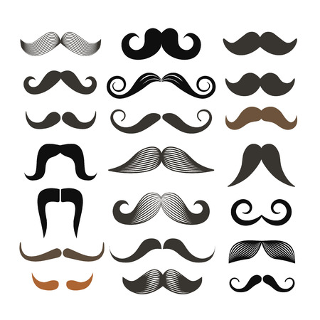 Different retro style moustache clip-art. Vector set isolated on white