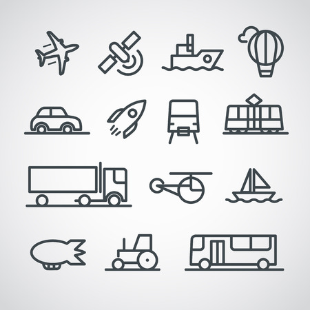 sattelite: Different transport icons collection. Vector clip-art Illustration