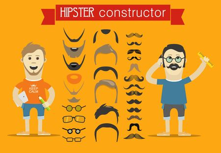 hesitations: Hipster accessories vector clip-art. Person design elements Illustration