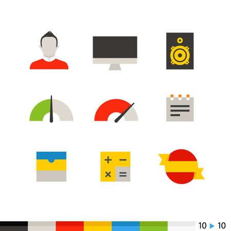 application icons: Different flat design web and application interface icons collection. Set 10 of 10