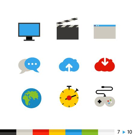 joystick: Different flat design web and application interface icons collection. Set 7 of 10