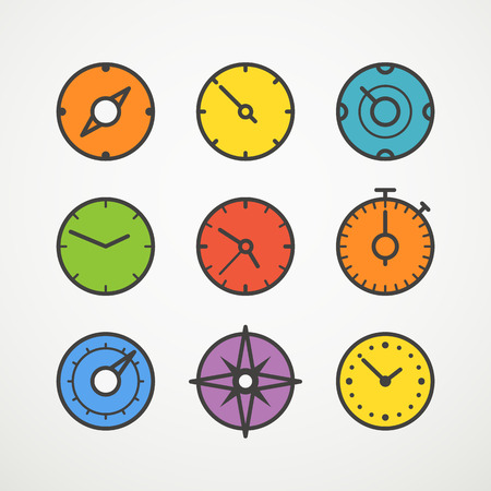 transportaion: Different slyles of color speedometers vector collection