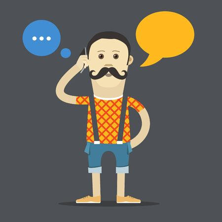 young man jeans: Yound hipster talking vector template. Place your text into the communication cloud