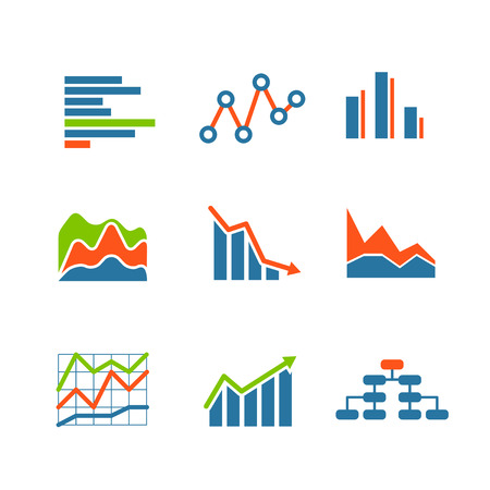 icons set: Different graphic business ratings and charts. infographic elements