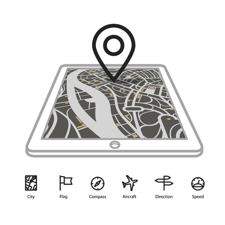 gadget: Modern gadget with abstract city map in perspective and transportation icons Illustration