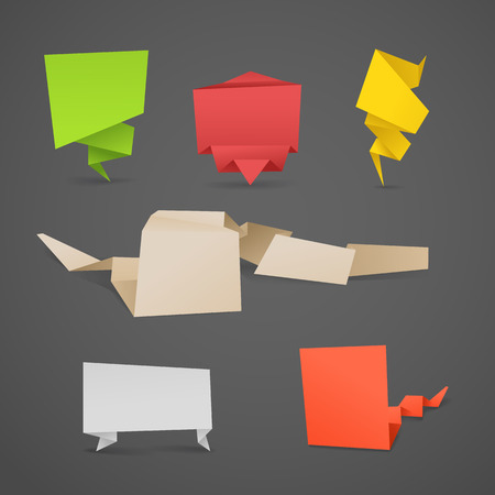 your text here: Colorful polygonal origami banners set. Place your text here Illustration