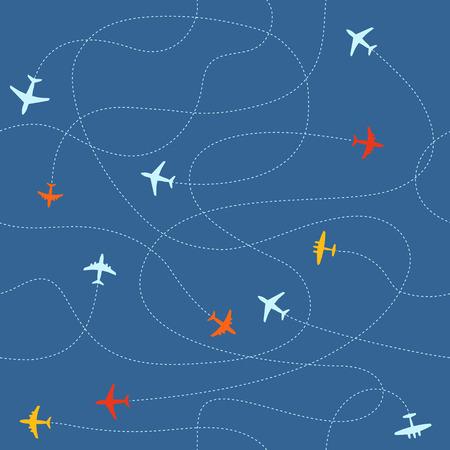 ways: Different plane ways abstract scheme. Seamless vector pattern