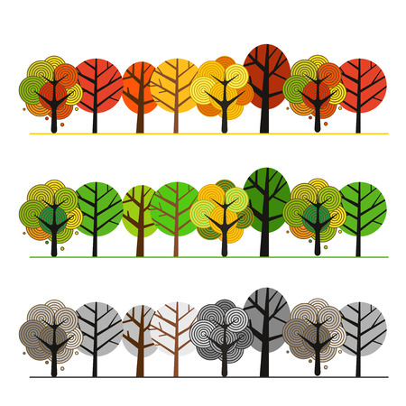 Different seasons of forest. Illustration concept Vectores