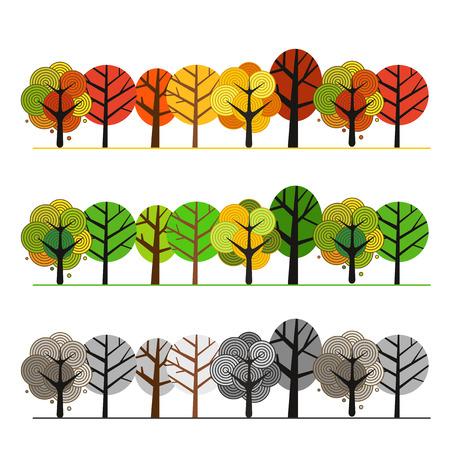 Different seasons of forest. Illustration concept Illustration