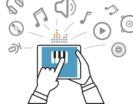 digital music: Making music via modern digital gadget. Simle line design illustration