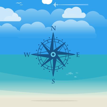 seashore: Vacation travelling concept. Flat illustration