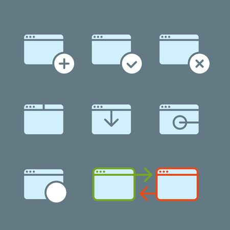 web element: Different web browser icons set with rounded corners. Design element