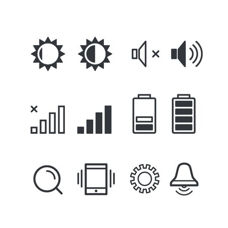 notification: Different mobile phone notification pictograms. Isolated on white