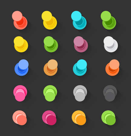 memos: Color pins flat design collection. Illustration