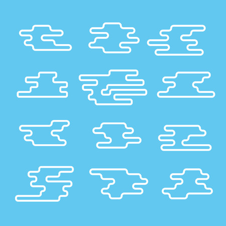 lineart: Different abstract lineart clouds collection. Flat design  elements Illustration