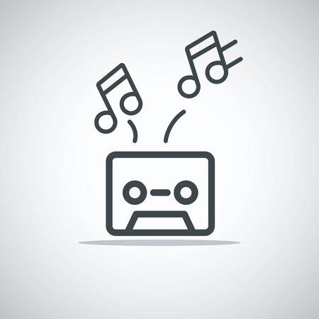 audio cassette: Modern media web icon. Audio cassette