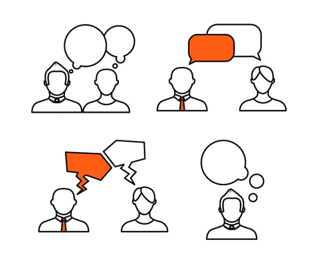 conversations: Sillhiuettes of talking people collection. Minimalism illustration concept