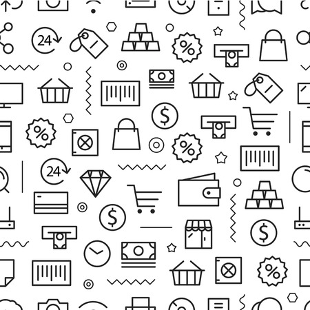Different line style icons seamless pattern. Shopping