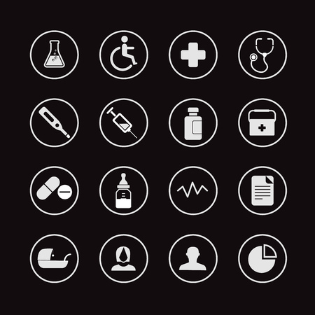 web icons: Different web interface icons clip-art. Healthcare