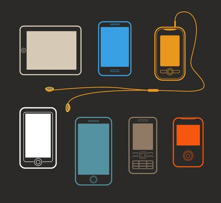 gadgets: Different mobile gadgets lineart design collection. Mockup design Illustration