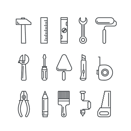 equipment: Different industrial equipment. Vector tool icons