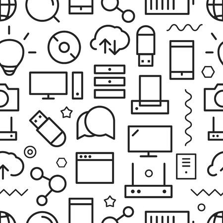 cloud background: Different web icons seamless pattern. Lineart concept Illustration