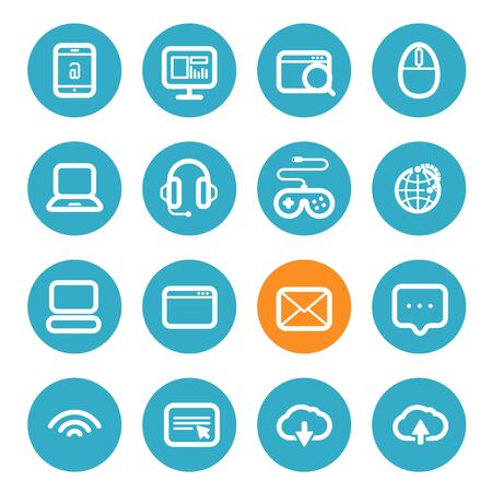 application icons: Different application icons set with rounded corners. Flat design elements