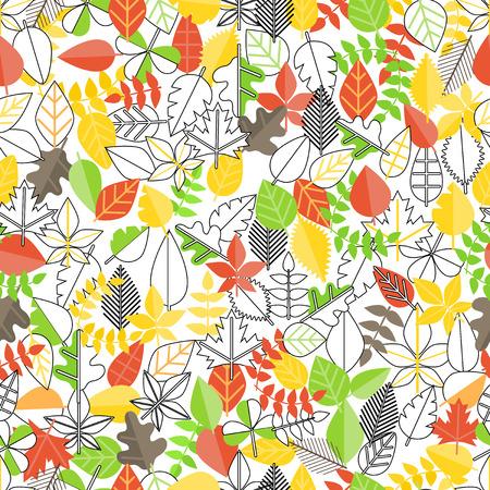 leaf line: Different leaf collection seamless background. Simple line design illustration