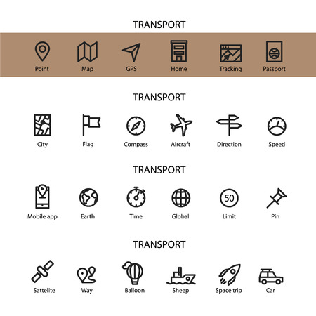 Different line style icons set. Transport