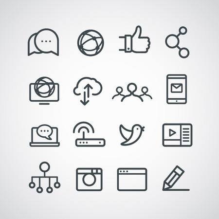 collection: Colección de iconos de diferentes medios de comunicación social. Clip-art