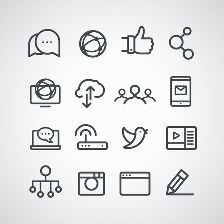 media gadget: Different social media icons collection. Vector clip-art