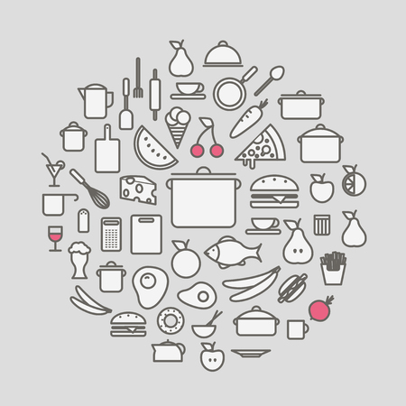 kitchen ware: Kitchen tools and meal silhouette icons circle composition. Design elements