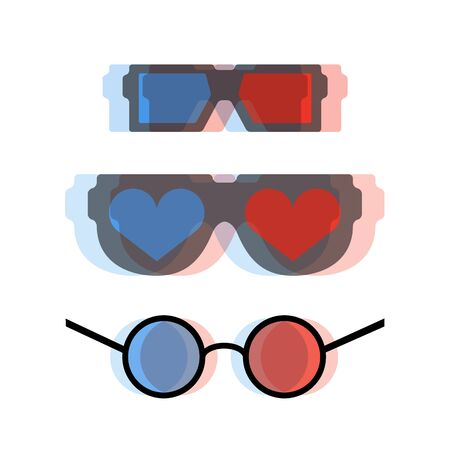3D glasses: Modern 3d cinema glasses set vector illustration