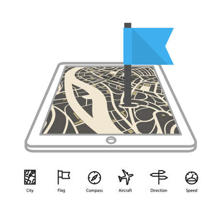 adress: Modern gadget with abstract city map in perspective and transportation icons Illustration